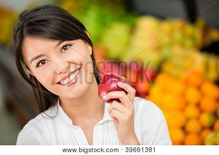 Woman shopping for groceries at the local market