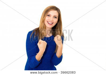 Winning success woman isolated on white background.