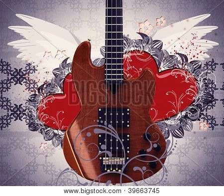 Vintage Music Guitar And Hearts