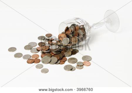 Spilled Crystal Goblet Of Coins