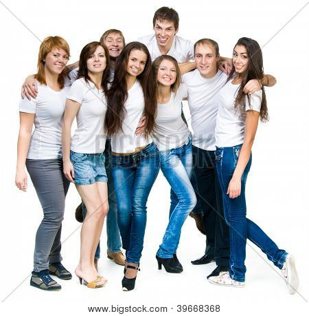 group of young smiling people over white