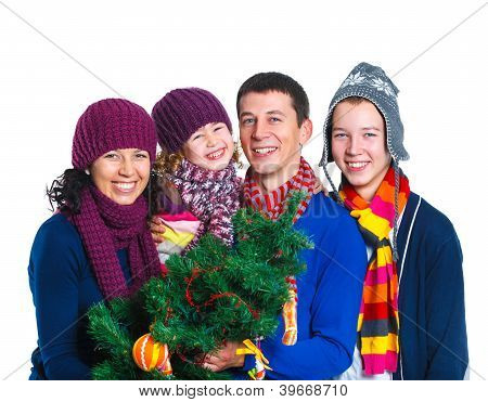 Family in winter hat