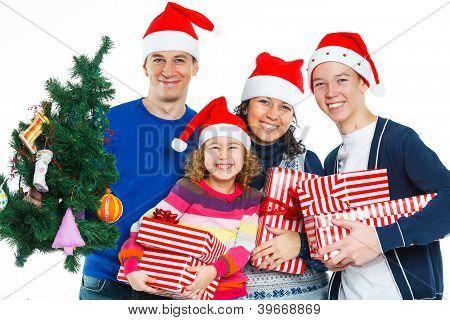 Family in Santa's hat