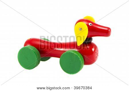 Dog-car Wooden Toy Isolated On White