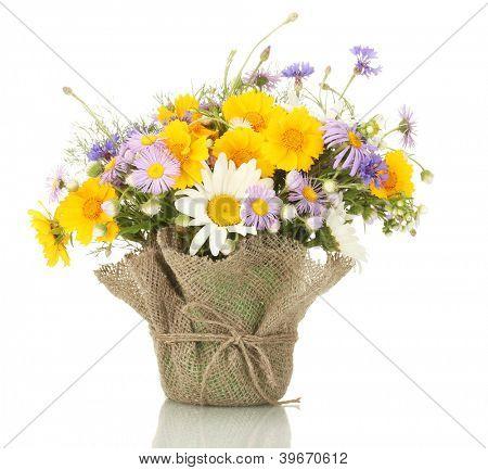 lindo buquê de flores silvestres brilhantes em vaso, isolado no branco