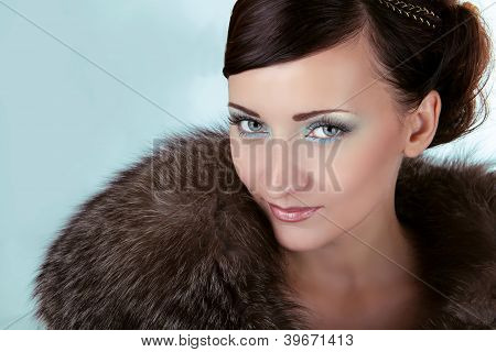 Woman With Blue Eyes, Winter Girl In Luxury Fur Coat