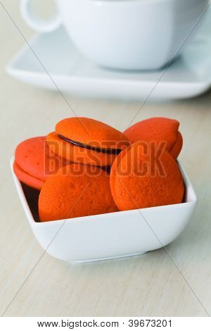 Orange Marron Cookies With Chocolate Cream