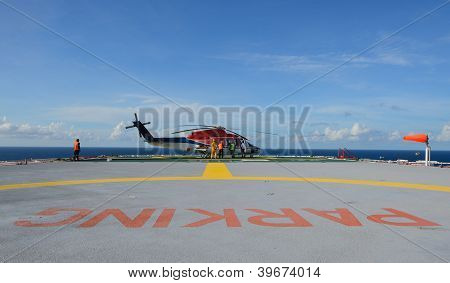 Helicopter Park On Oil Rig