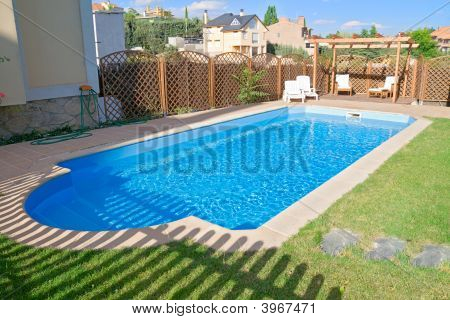 Garden Swimming Pool With Sparkling Fresh Water