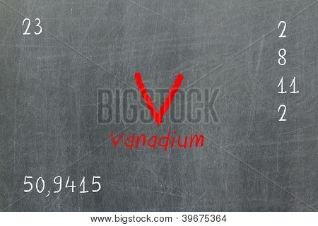 Isolated Blackboard With Periodic Table, Vanadium