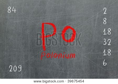 Isolated Blackboard With Periodic Table, Polonium