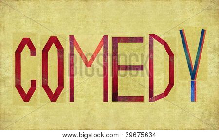Earthy background image and design element depicting the word COMEDY