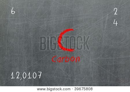 Isolated Blackboard With Periodic Table, Carbon