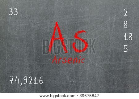 Isolated Blackboard With Periodic Table, Arsenic