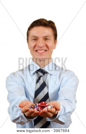 Businessman Holding Gambling Chips,Clipping Path