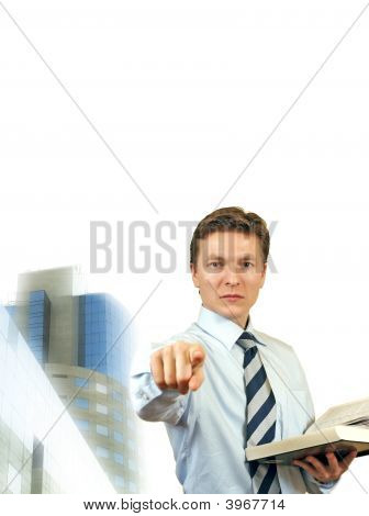 Business Man Trying To Impose , Young Lawyer With Corporate Building