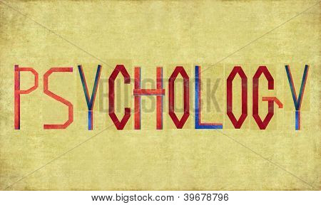 Earthy background image and design element depicting the word PSYCHOLOGY