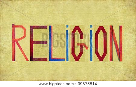 Earthy background image and design element depicting the word RELIGION