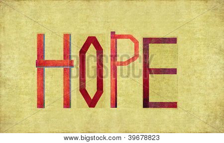 Earthy background image and design element depicting the word HOPE