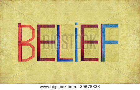 Earthy background image and design element depicting the word BELIEF