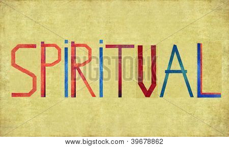 Earthy background image and design element depicting the word SPIRITUAL