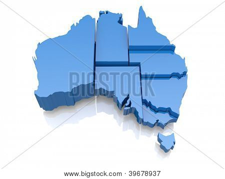 Three-dimensional map of Australia on white background. 3d