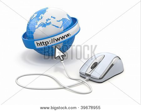 Concept of internet browser. Earth, cursor and computer mouse. 3d