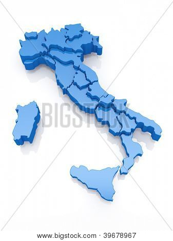 Three-dimensional map of Italy on white background. 3d