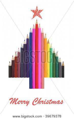 Christmas tree made of  color pencils