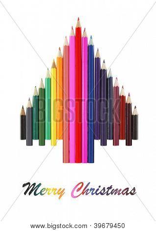Christmas tree made of  color pencils