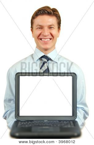 Young Businessman Presenting A Laptop ,Screen With Clipping Path