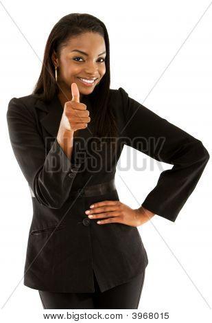 Mulher de negócios com o polegar até
