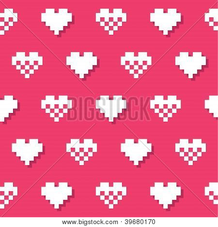 Heart pink seamless background, pattern - Valentines Day