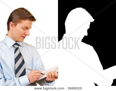 Young Businessman Taking Notes On A Clipboard Against White,Alpha Included