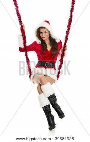 Santa Girl On A Swing