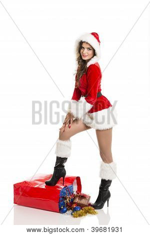 Santa Girl With Christmas Shopping Bag