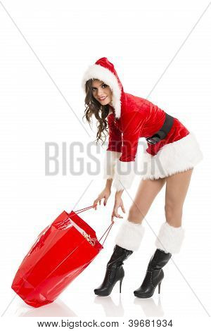 Santa Girl With Red Shopping Bag