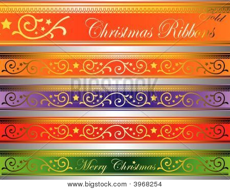 Vector Christmas Deco Ribbons Gold