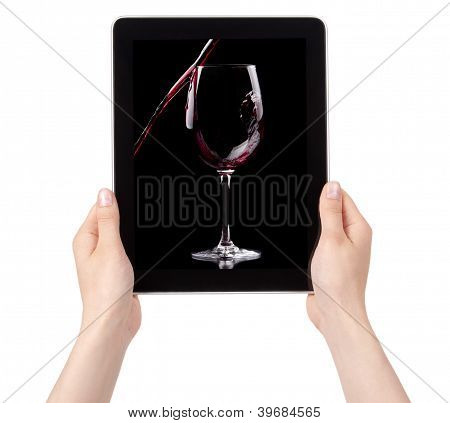 Party Background With Red Wine On A Digital Tablet