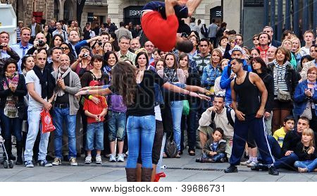 Acrobatic street performances.