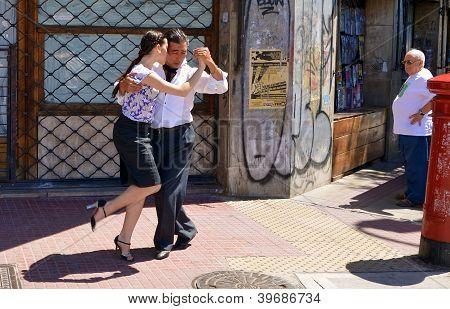 Tango dancing.