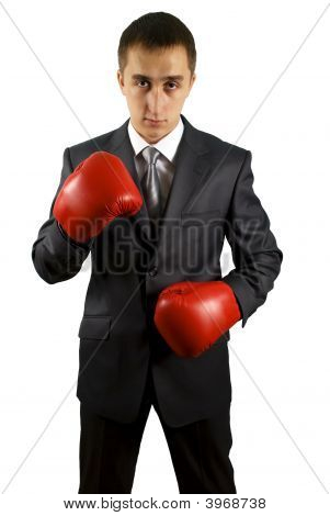 Business Man With A Red Boxing Gloves