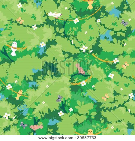 Birds among branches seamless pattern background