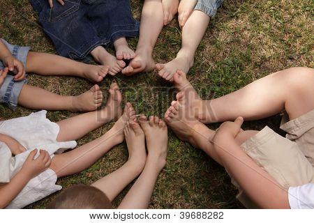 children barefoot