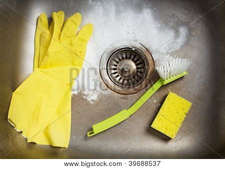 Preparing To Clean The Sink