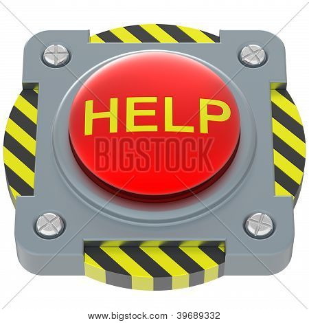 Help Red Button Isolated On White Background.