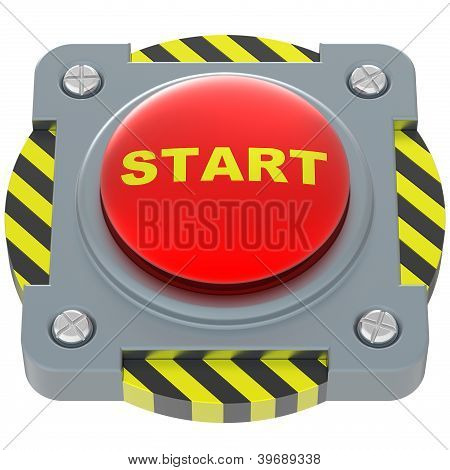 Start Red Button Isolated On White Background.