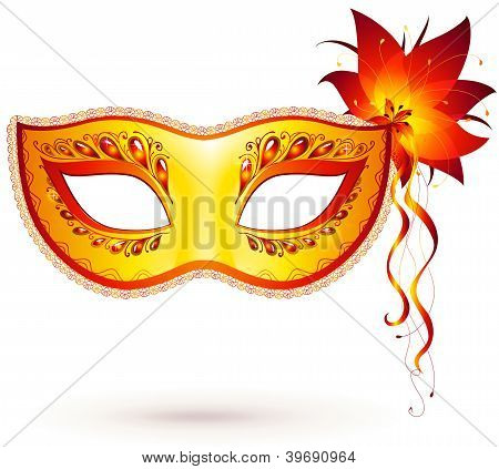 Yellow vector venitian carnival mask