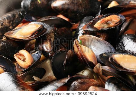 freshly boiled mussels