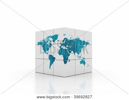 Cubes With World Map